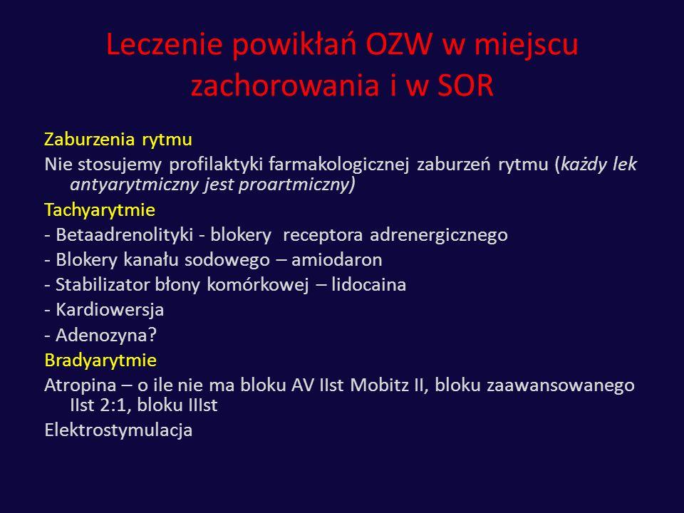 Leczenie powikłań OZW w miejscu zachorowania i w SOR Zaburzenia rytmu Nie stosujemy profilaktyki farmakologicznej zaburzeń rytmu (każdy lek antyarytmi