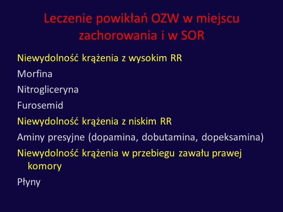 Leczenie powikłań OZW w miejscu zachorowania i w SOR Niewydolność krążenia z wysokim RR Morfina Nitrogliceryna Furosemid Niewydolność krążenia z niski