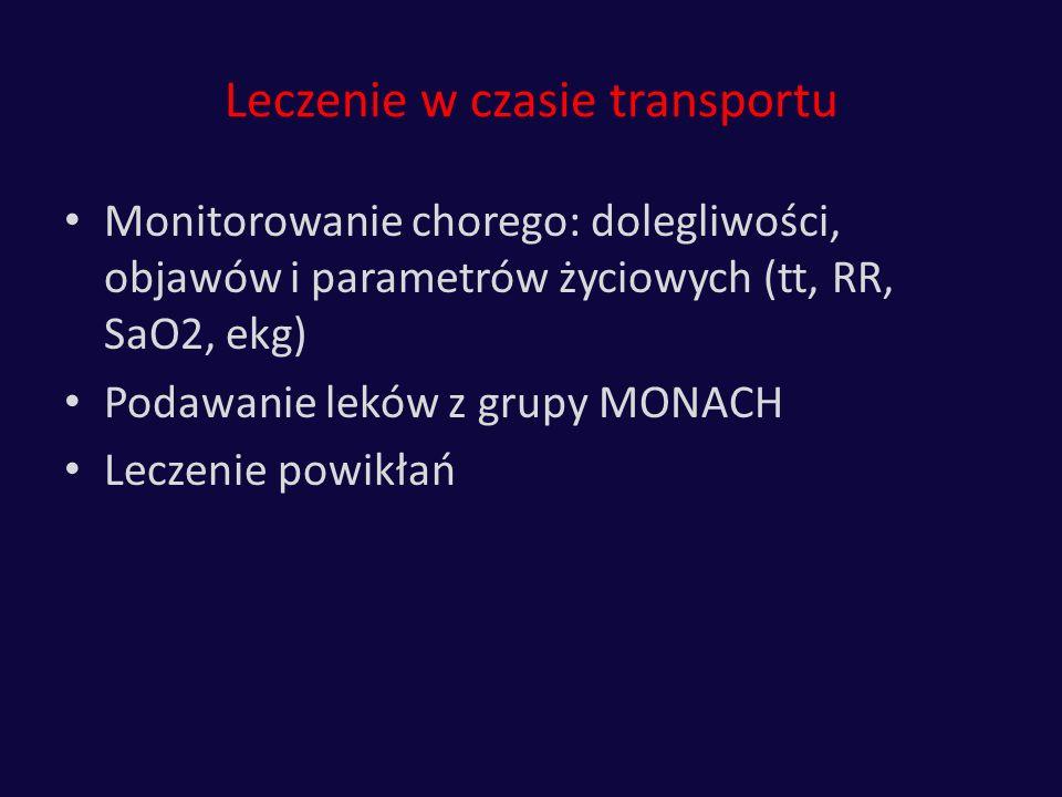 Leczenie w czasie transportu Monitorowanie chorego: dolegliwości, objawów i parametrów życiowych (tt, RR, SaO2, ekg) Podawanie leków z grupy MONACH Le