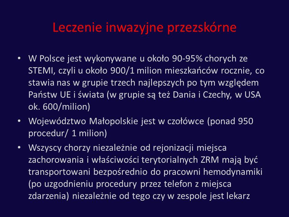 Leczenie inwazyjne przezskórne W Polsce jest wykonywane u około 90-95% chorych ze STEMI, czyli u około 900/1 milion mieszkańców rocznie, co stawia nas