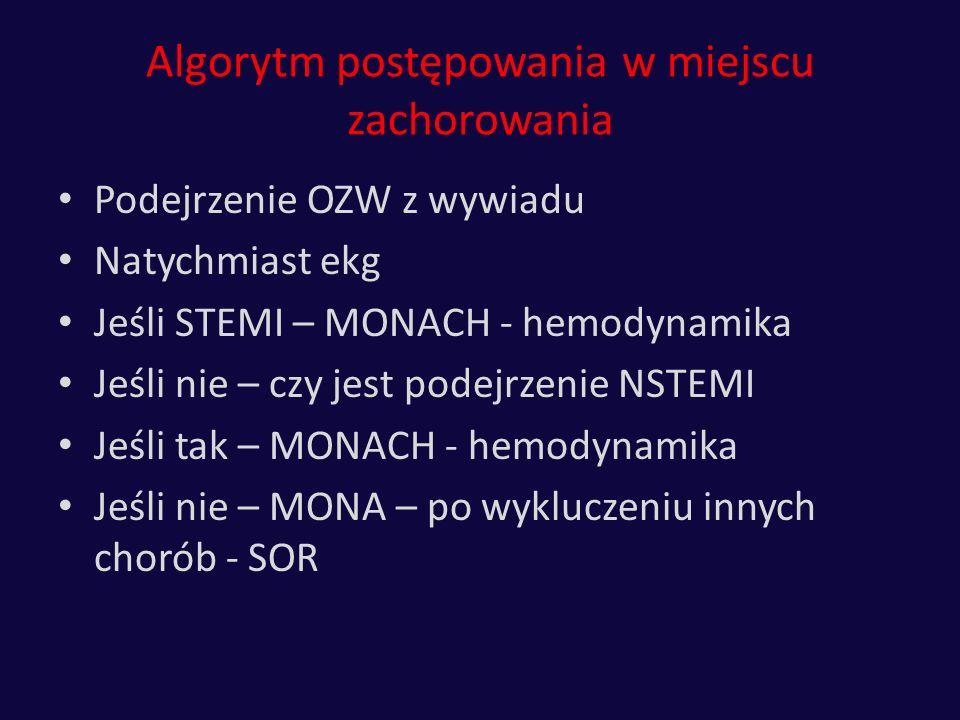 Algorytm postępowania w miejscu zachorowania Podejrzenie OZW z wywiadu Natychmiast ekg Jeśli STEMI – MONACH - hemodynamika Jeśli nie – czy jest podejr