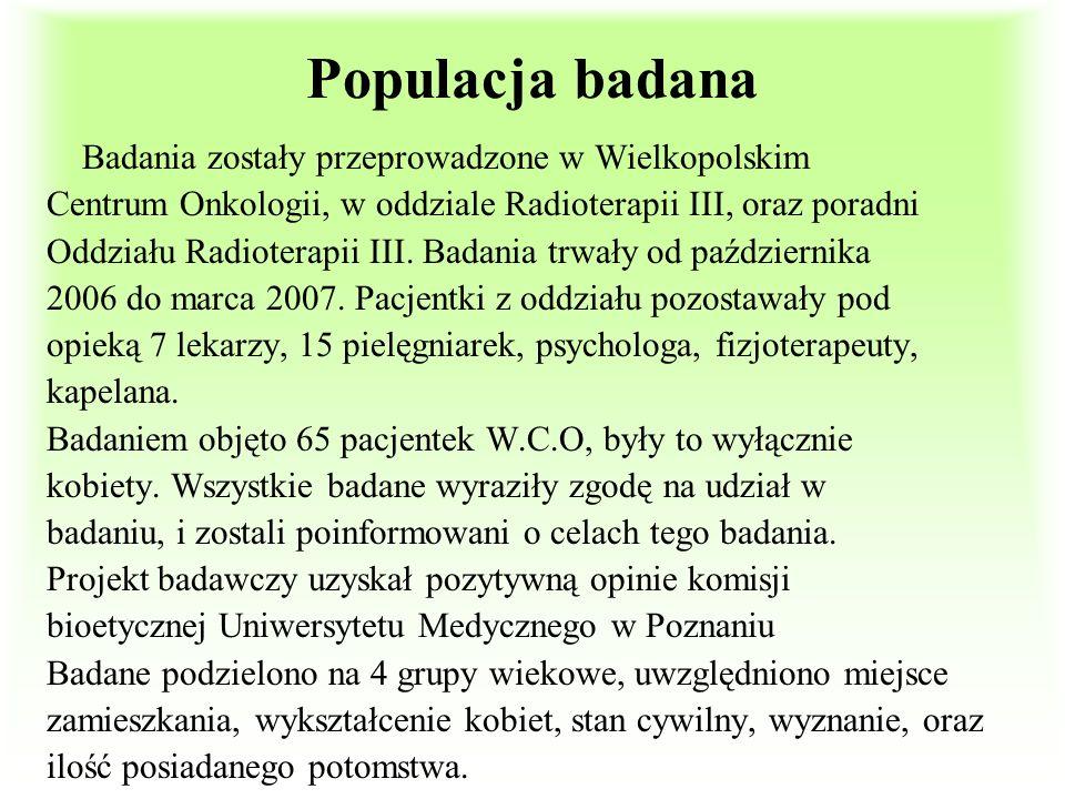 Populacja badana Badania zostały przeprowadzone w Wielkopolskim Centrum Onkologii, w oddziale Radioterapii III, oraz poradni Oddziału Radioterapii III