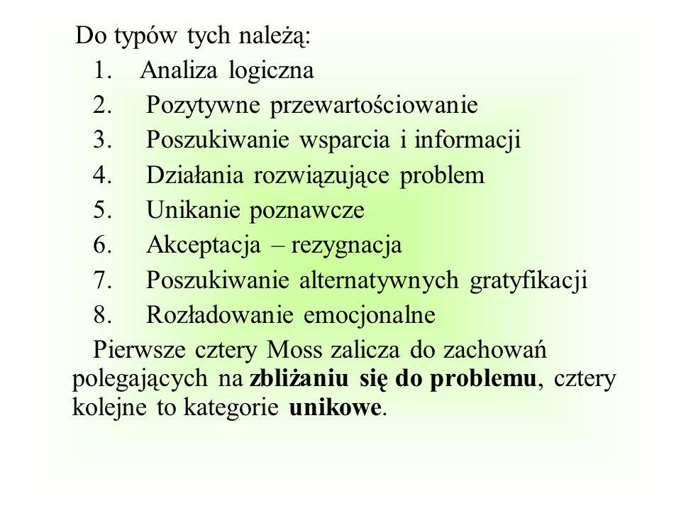 Do typów tych należą: 1. Analiza logiczna 2. Pozytywne przewartościowanie 3. Poszukiwanie wsparcia i informacji 4. Działania rozwiązujące problem 5. U