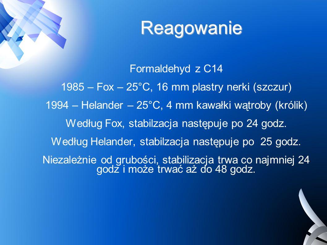 Reagowanie Formaldehyd z C14 1985 – Fox – 25°C, 16 mm plastry nerki (szczur) 1994 – Helander – 25°C, 4 mm kawałki wątroby (królik) Według Fox, stabilz