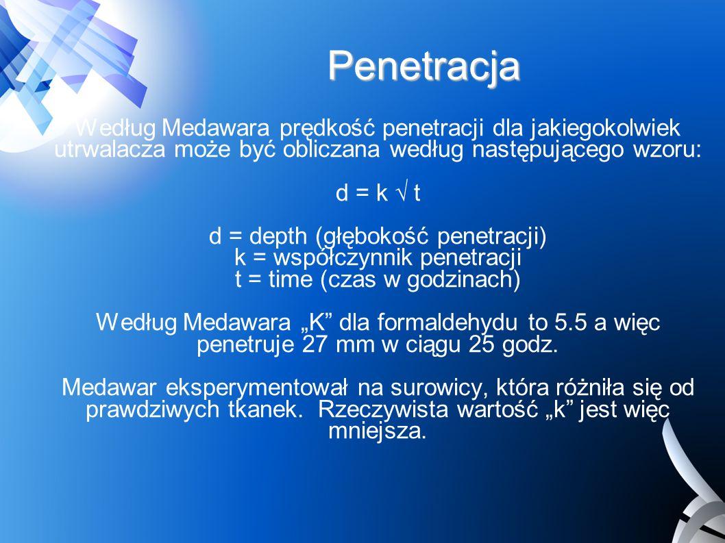 Penetracja Według Medawara prędkość penetracji dla jakiegokolwiek utrwalacza może być obliczana według następującego wzoru: d = k t d = depth (głęboko