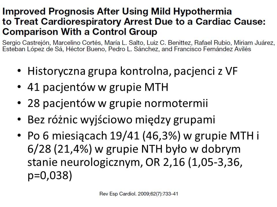 Historyczna grupa kontrolna, pacjenci z VF 41 pacjentów w grupie MTH 28 pacjentów w grupie normotermii Bez różnic wyjściowo między grupami Po 6 miesiącach 19/41 (46,3%) w grupie MTH i 6/28 (21,4%) w grupie NTH było w dobrym stanie neurologicznym, OR 2,16 (1,05-3,36, p=0,038)