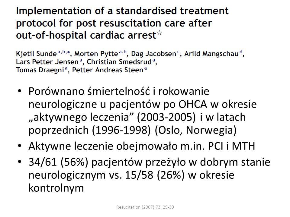 Porównano śmiertelność i rokowanie neurologiczne u pacjentów po OHCA w okresie aktywnego leczenia (2003-2005) i w latach poprzednich (1996-1998) (Oslo, Norwegia) Aktywne leczenie obejmowało m.in.