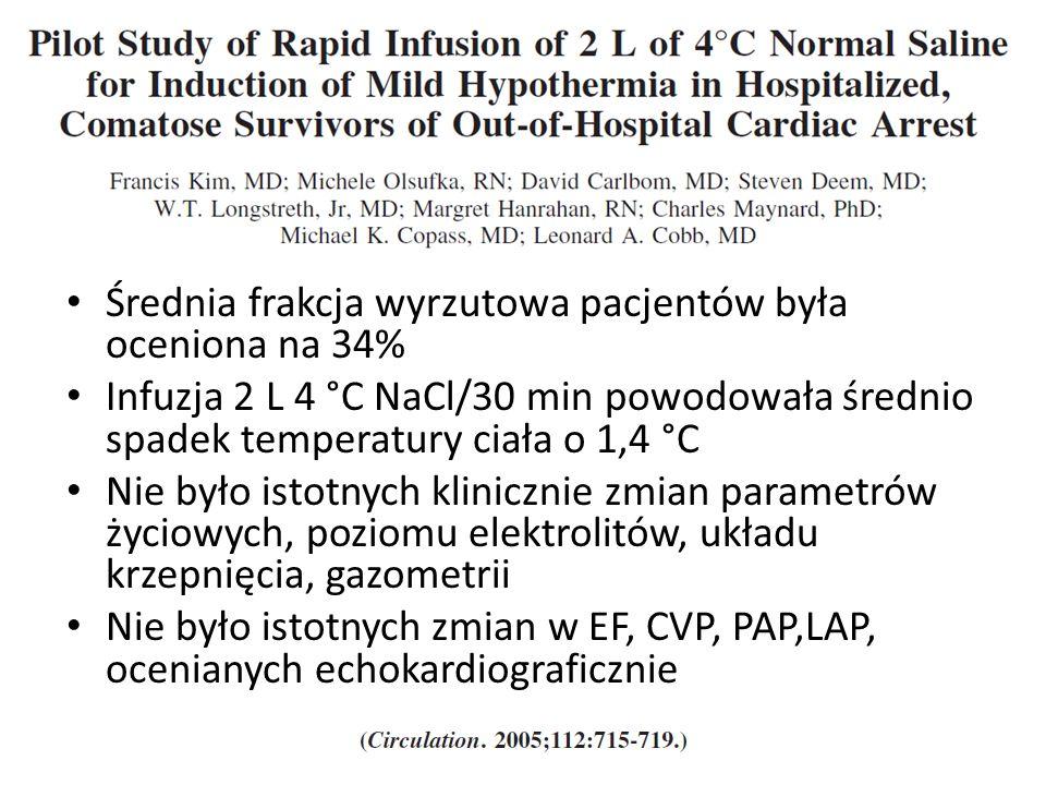 Średnia frakcja wyrzutowa pacjentów była oceniona na 34% Infuzja 2 L 4 °C NaCl/30 min powodowała średnio spadek temperatury ciała o 1,4 °C Nie było istotnych klinicznie zmian parametrów życiowych, poziomu elektrolitów, układu krzepnięcia, gazometrii Nie było istotnych zmian w EF, CVP, PAP,LAP, ocenianych echokardiograficznie
