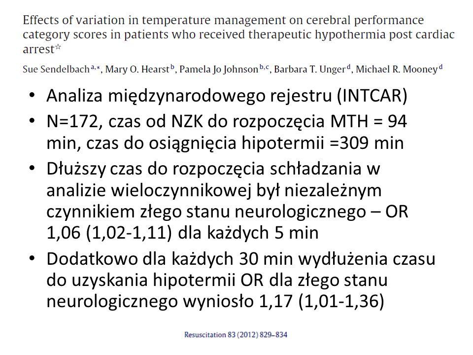 Analiza międzynarodowego rejestru (INTCAR) N=172, czas od NZK do rozpoczęcia MTH = 94 min, czas do osiągnięcia hipotermii =309 min Dłuższy czas do rozpoczęcia schładzania w analizie wieloczynnikowej był niezależnym czynnikiem złego stanu neurologicznego – OR 1,06 (1,02-1,11) dla każdych 5 min Dodatkowo dla każdych 30 min wydłużenia czasu do uzyskania hipotermii OR dla złego stanu neurologicznego wyniosło 1,17 (1,01-1,36)
