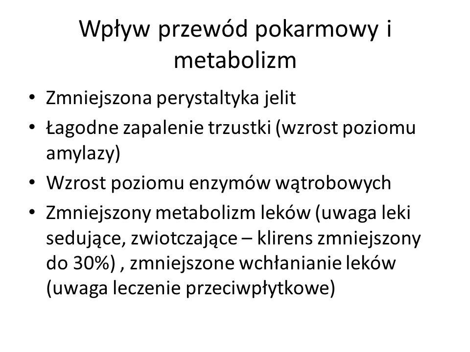 Wpływ przewód pokarmowy i metabolizm Zmniejszona perystaltyka jelit Łagodne zapalenie trzustki (wzrost poziomu amylazy) Wzrost poziomu enzymów wątrobowych Zmniejszony metabolizm leków (uwaga leki sedujące, zwiotczające – klirens zmniejszony do 30%), zmniejszone wchłanianie leków (uwaga leczenie przeciwpłytkowe)