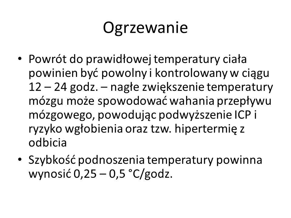Ogrzewanie Powrót do prawidłowej temperatury ciała powinien być powolny i kontrolowany w ciągu 12 – 24 godz.