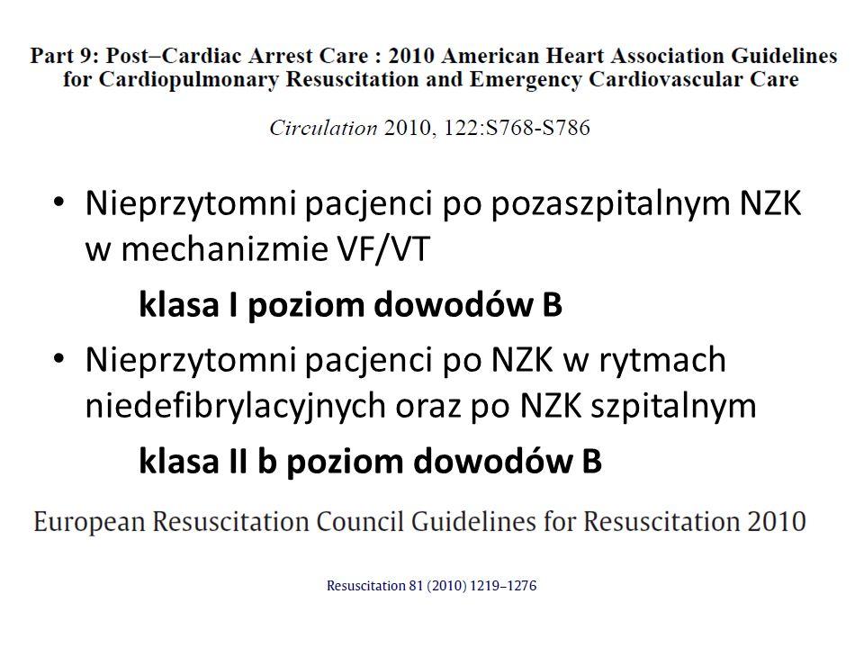 Nieprzytomni pacjenci po pozaszpitalnym NZK w mechanizmie VF/VT klasa I poziom dowodów B Nieprzytomni pacjenci po NZK w rytmach niedefibrylacyjnych oraz po NZK szpitalnym klasa II b poziom dowodów B