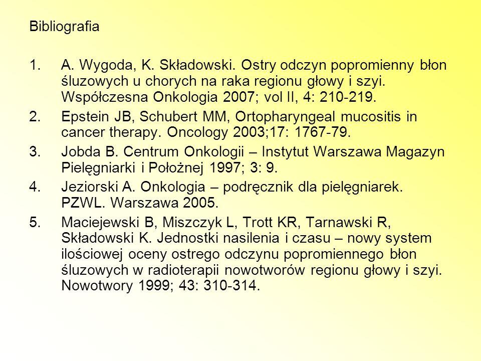 Bibliografia 1.A. Wygoda, K. Składowski. Ostry odczyn popromienny błon śluzowych u chorych na raka regionu głowy i szyi. Współczesna Onkologia 2007; v