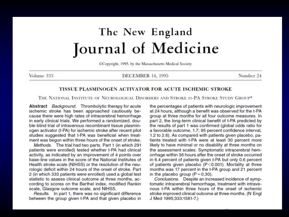 Osoby leczone mają o 30% większą szanse na samodzielność 3 miesiące po udarze w porównaniu z nie leczonymi Objawowy krwotok śródmózgowy do 36 godzin po zachorowaniu występuje 10 x częściej u leczonych w porównaniu do nie leczonych (6.4% vs 0.6%) Leczenie rtPA nie ma wpływu na śmiertelność 3 miesiące po udarze mózgu NEJM, 1995 wyniki Nagłe stany sercowo-naczyniowe, 19–20.10.