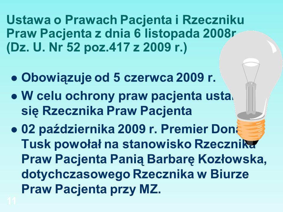 11 Ustawa o Prawach Pacjenta i Rzeczniku Praw Pacjenta z dnia 6 listopada 2008r. (Dz. U. Nr 52 poz.417 z 2009 r.) Obowiązuje od 5 czerwca 2009 r. W ce