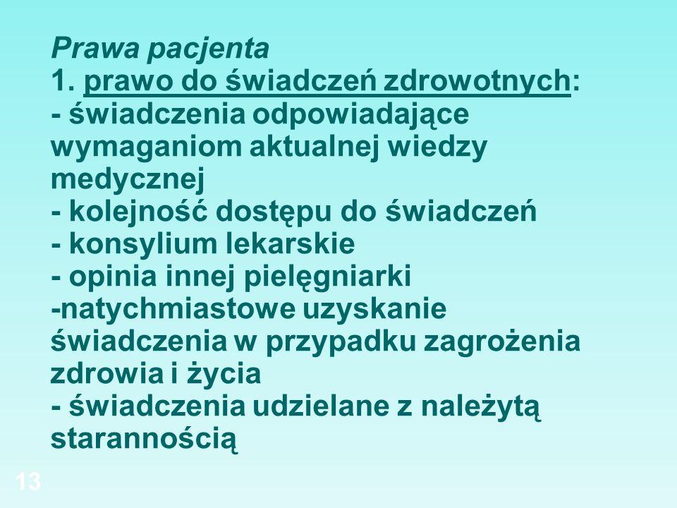 Prawa pacjenta 1. prawo do świadczeń zdrowotnych: - świadczenia odpowiadające wymaganiom aktualnej wiedzy medycznej - kolejność dostępu do świadczeń -