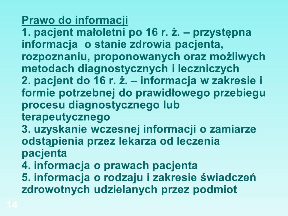 Prawo do informacji 1. pacjent małoletni po 16 r. ż. – przystępna informacja o stanie zdrowia pacjenta, rozpoznaniu, proponowanych oraz możliwych meto