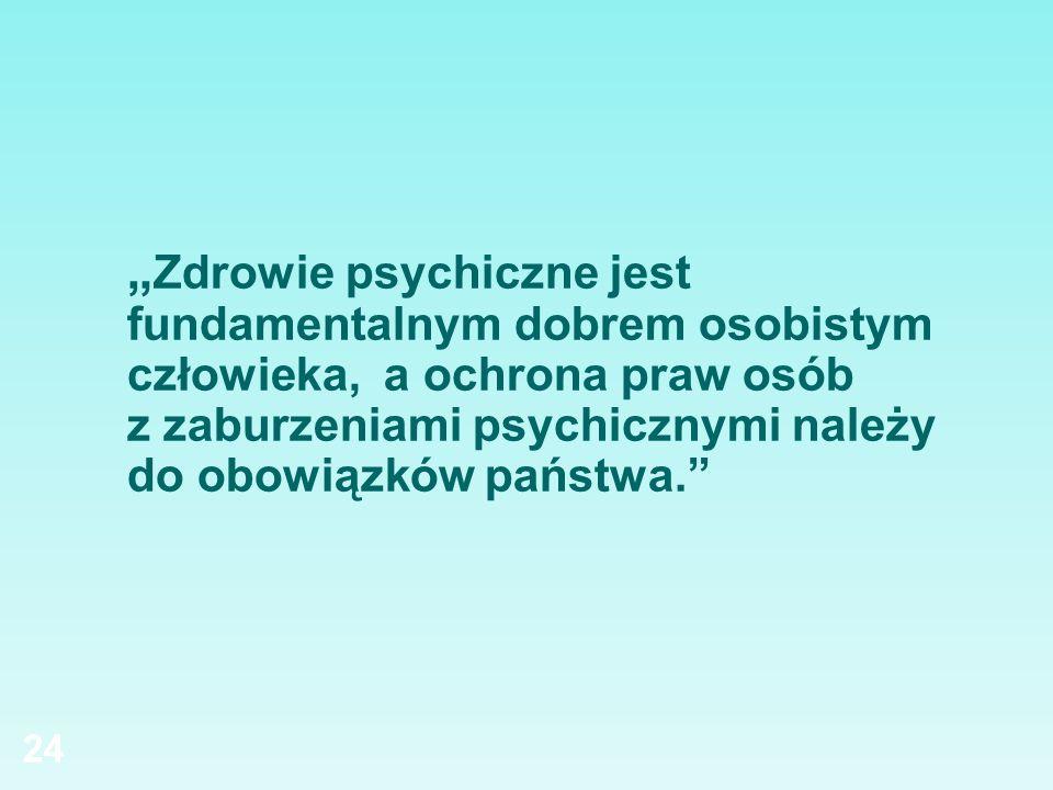 Zdrowie psychiczne jest fundamentalnym dobrem osobistym człowieka, a ochrona praw osób z zaburzeniami psychicznymi należy do obowiązków państwa. 24