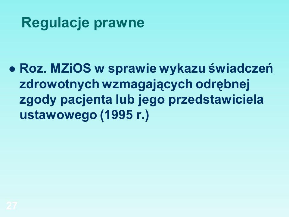 Regulacje prawne Roz. MZiOS w sprawie wykazu świadczeń zdrowotnych wzmagających odrębnej zgody pacjenta lub jego przedstawiciela ustawowego (1995 r.)