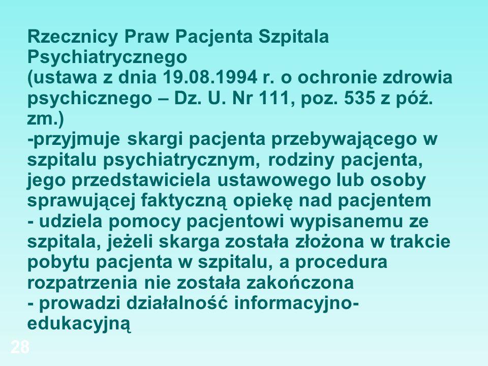 Rzecznicy Praw Pacjenta Szpitala Psychiatrycznego (ustawa z dnia 19.08.1994 r. o ochronie zdrowia psychicznego – Dz. U. Nr 111, poz. 535 z póź. zm.) -