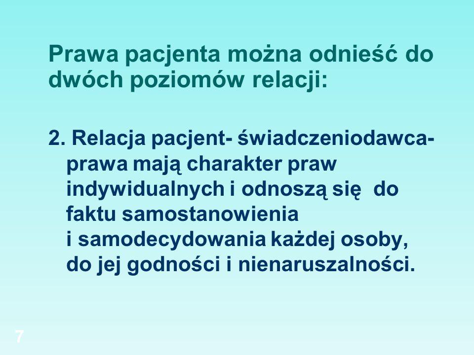 Prawa pacjenta można odnieść do dwóch poziomów relacji: 2. Relacja pacjent- świadczeniodawca- prawa mają charakter praw indywidualnych i odnoszą się d