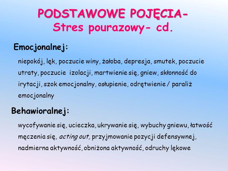PODSTAWOWE POJĘCIA- PODSTAWOWE POJĘCIA- Stres pourazowy- cd. Emocjonalnej: niepokój, lęk, poczucie winy, żałoba, depresja, smutek, poczucie utraty, po