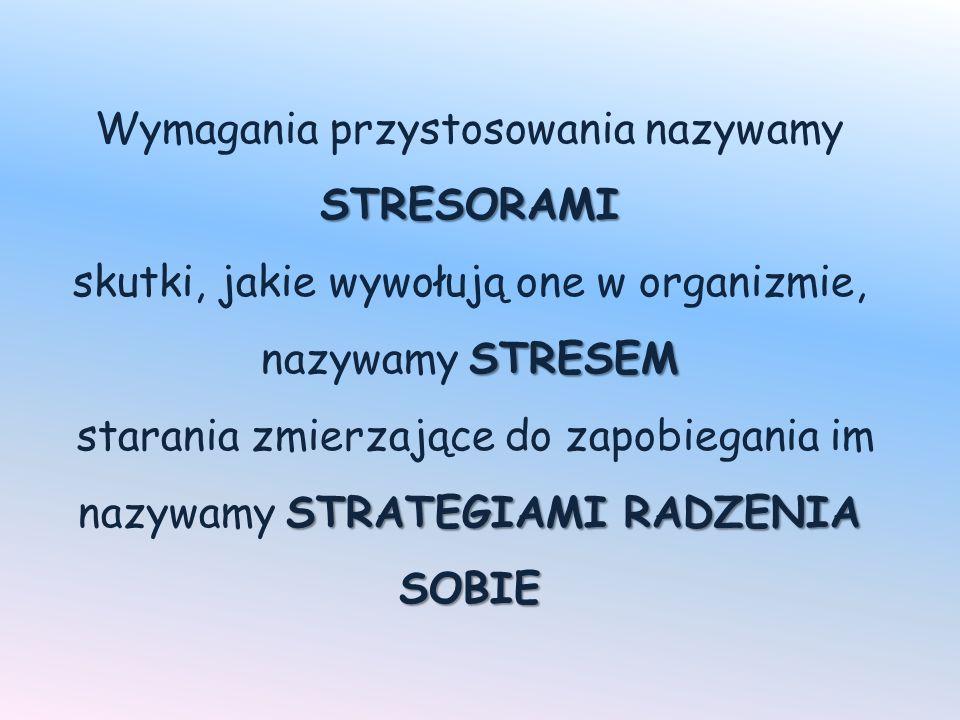 STRESORAMI STRESEM STRATEGIAMI RADZENIA SOBIE Wymagania przystosowania nazywamy STRESORAMI skutki, jakie wywołują one w organizmie, nazywamy STRESEM starania zmierzające do zapobiegania im nazywamy STRATEGIAMI RADZENIA SOBIE