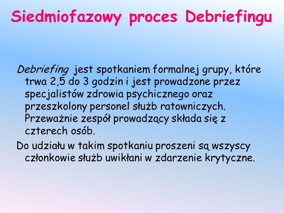 Siedmiofazowy proces Debriefingu Debriefing jest spotkaniem formalnej grupy, które trwa 2,5 do 3 godzin i jest prowadzone przez specjalistów zdrowia psychicznego oraz przeszkolony personel służb ratowniczych.