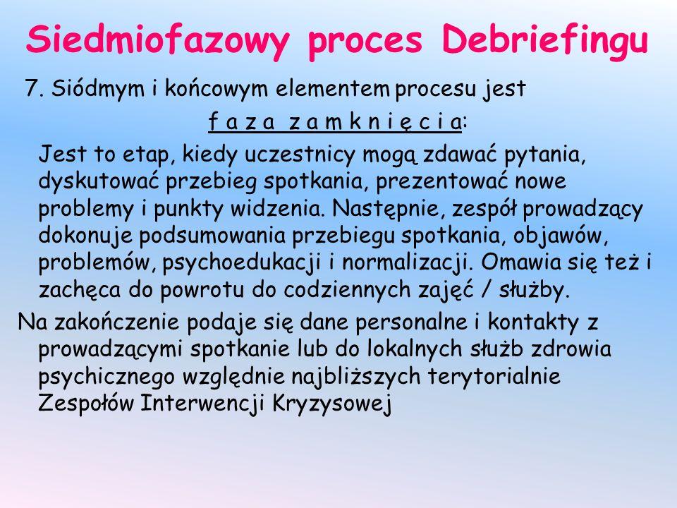 Siedmiofazowy proces Debriefingu 7. Siódmym i końcowym elementem procesu jest f a z a z a m k n i ę c i a: Jest to etap, kiedy uczestnicy mogą zdawać