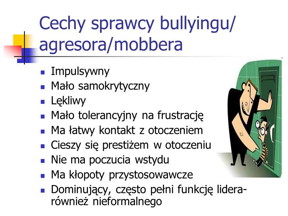 Cechy sprawcy bullyingu/ agresora/mobbera Impulsywny Mało samokrytyczny Lękliwy Mało tolerancyjny na frustrację Ma łatwy kontakt z otoczeniem Cieszy s