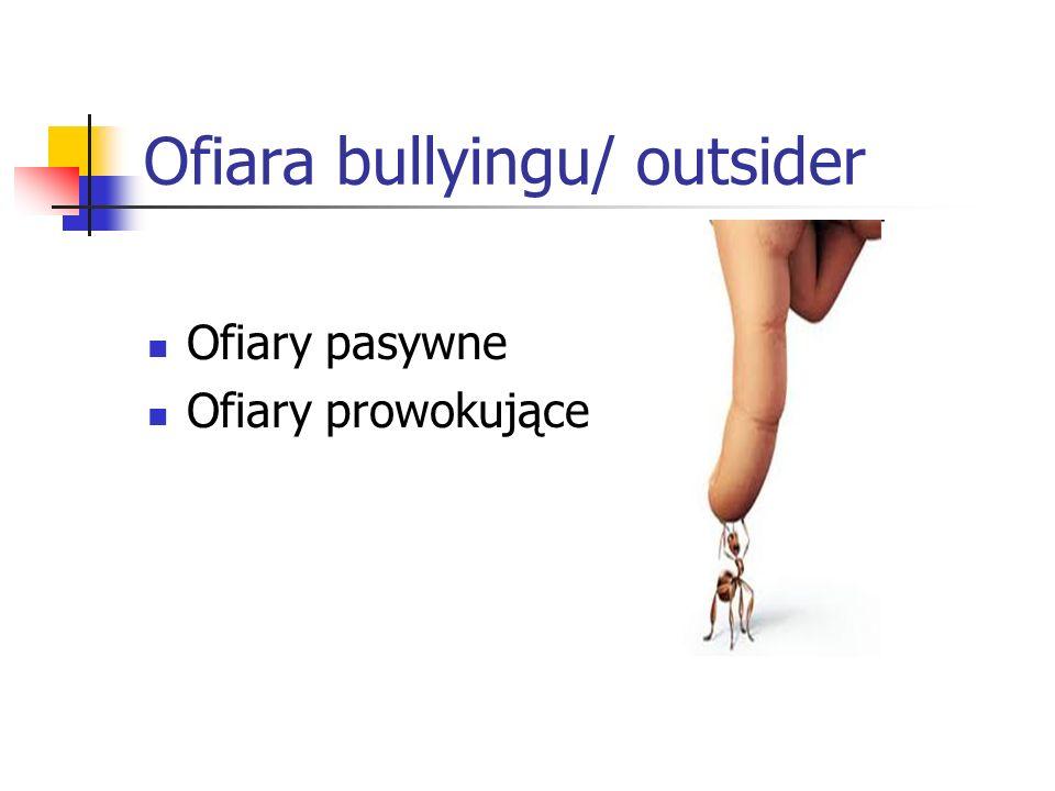 Ofiara bullyingu/ outsider Ofiary pasywne Ofiary prowokujące