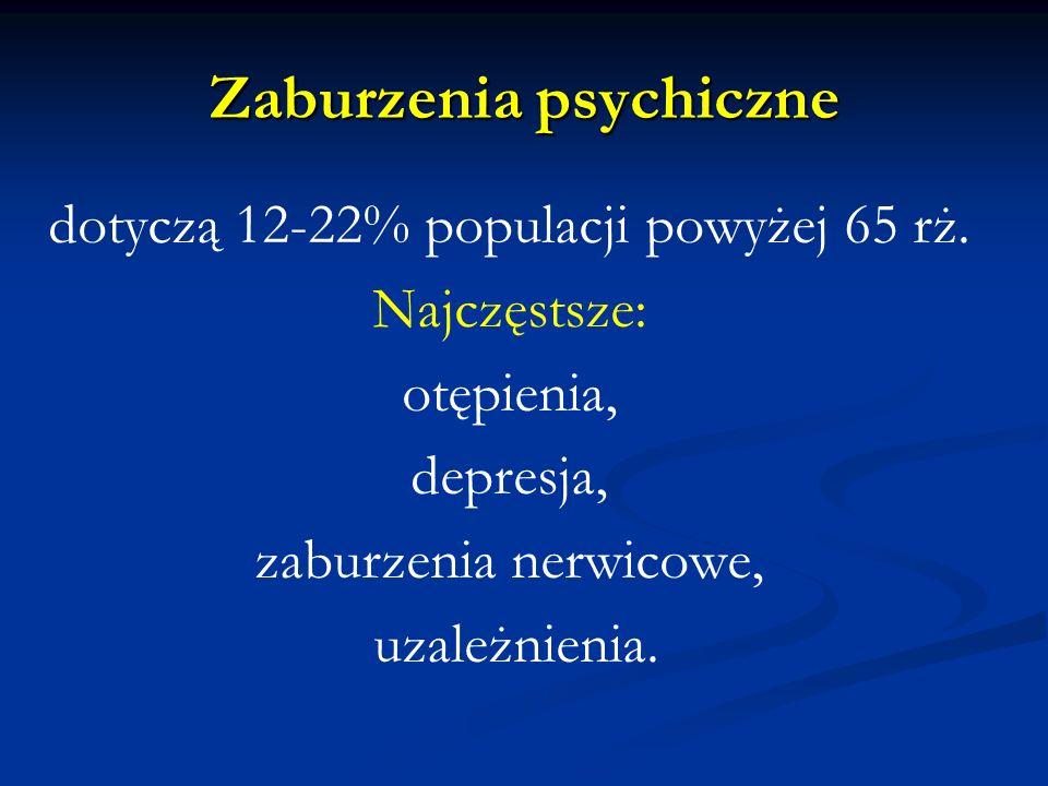 Zaburzenia psychiczne dotyczą 12-22% populacji powyżej 65 rż. Najczęstsze: otępienia, depresja, zaburzenia nerwicowe, uzależnienia.