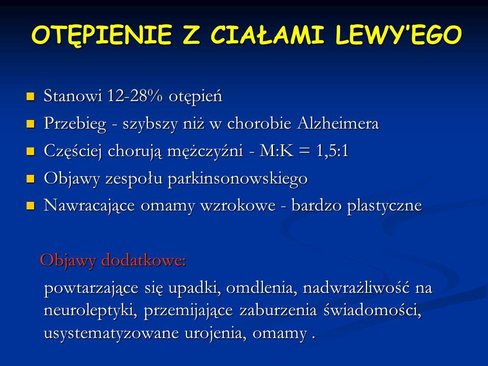 OTĘPIENIE Z CIAŁAMI LEWYEGO Stanowi 12-28% otępień Stanowi 12-28% otępień Przebieg - szybszy niż w chorobie Alzheimera Przebieg - szybszy niż w chorob