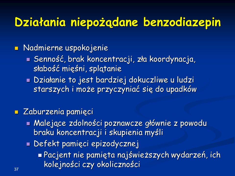 37 Działania niepożądane benzodiazepin Nadmierne uspokojenie Nadmierne uspokojenie Senność, brak koncentracji, zła koordynacja, słabość mięśni, spląta