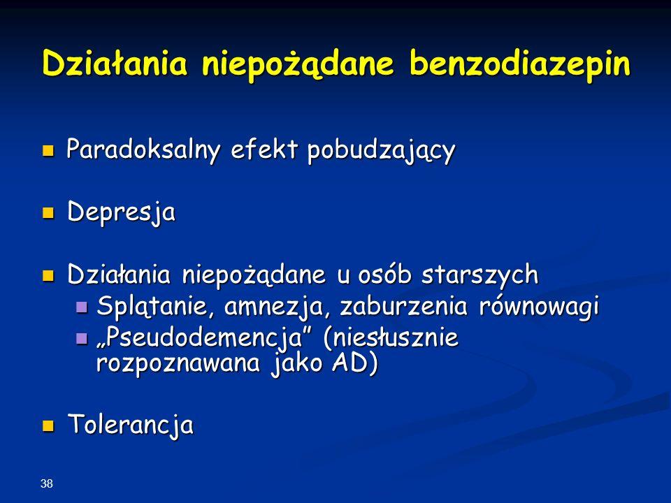 38 Działania niepożądane benzodiazepin Paradoksalny efekt pobudzający Paradoksalny efekt pobudzający Depresja Depresja Działania niepożądane u osób st
