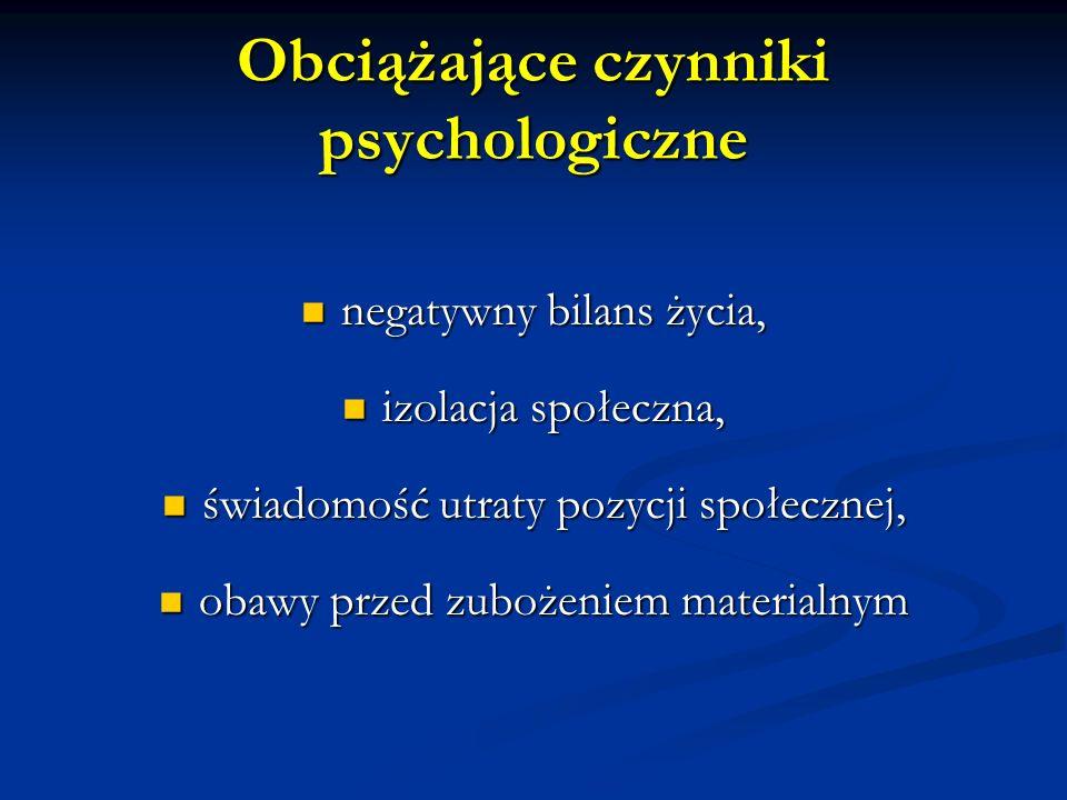 Obciążające czynniki psychologiczne negatywny bilans życia, negatywny bilans życia, izolacja społeczna, izolacja społeczna, świadomość utraty pozycji