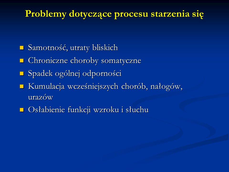 Najczęstsze przyczyny otępienia Choroba Alzheimera 50-55% Choroba Alzheimera 50-55% Otępienie naczyniowe 20% Otępienie naczyniowe 20% Mieszane 15% Mieszane 15% Otępienie pourazowe Otępienie pourazowe Otępienie w przebiegu alkoholizmu Otępienie w przebiegu alkoholizmu Choroba Parkinsona Choroba Parkinsona Choroba Huntingtona Choroba Huntingtona