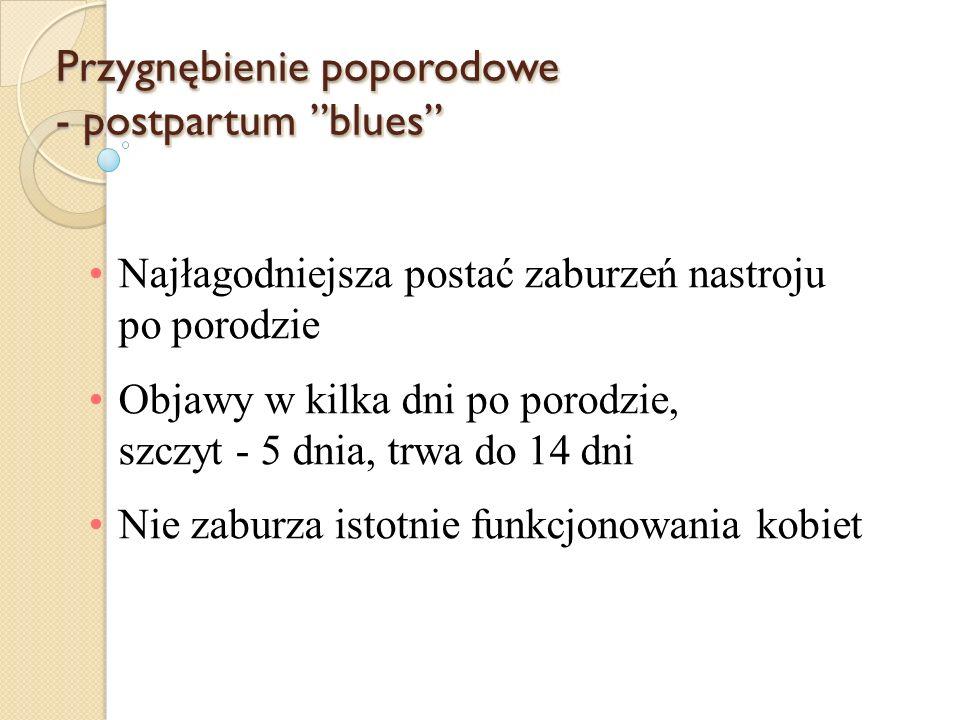 Przygnębienie poporodowe - postpartum blues Najłagodniejsza postać zaburzeń nastroju po porodzie Objawy w kilka dni po porodzie, szczyt - 5 dnia, trwa