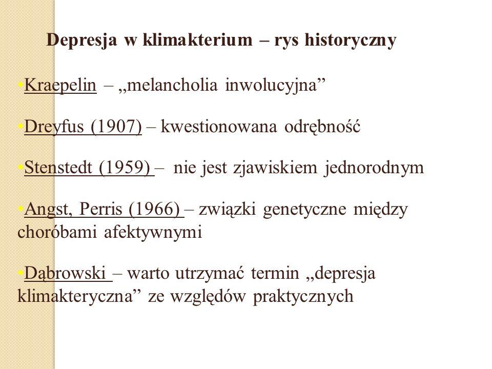 Kraepelin – melancholia inwolucyjna Dreyfus (1907) – kwestionowana odrębność Stenstedt (1959) – nie jest zjawiskiem jednorodnym Angst, Perris (1966) – związki genetyczne między choróbami afektywnymi Dąbrowski – warto utrzymać termin depresja klimakteryczna ze względów praktycznych Depresja w klimakterium – rys historyczny