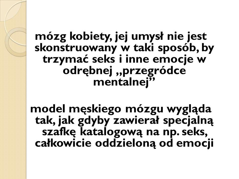 mózg kobiety, jej umysł nie jest skonstruowany w taki sposób, by trzymać seks i inne emocje w odrębnej przegródce mentalnej model męskiego mózgu wygląda tak, jak gdyby zawierał specjalną szafkę katalogową na np.