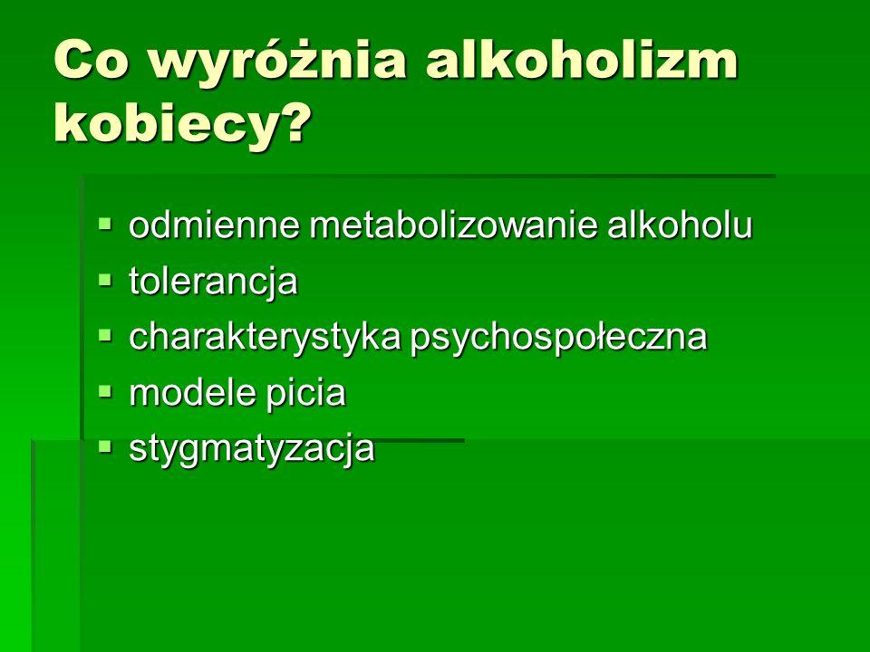 Co wyróżnia alkoholizm kobiecy? odmienne metabolizowanie alkoholu odmienne metabolizowanie alkoholu tolerancja tolerancja charakterystyka psychospołec