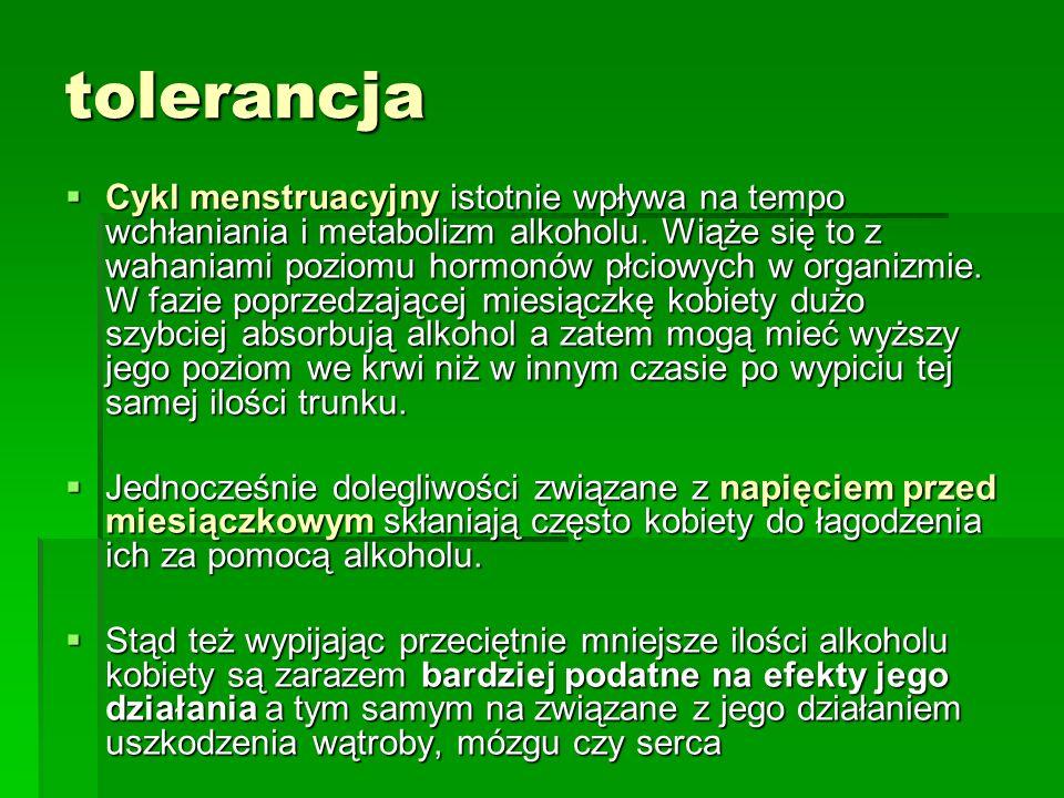 tolerancja Cykl menstruacyjny istotnie wpływa na tempo wchłaniania i metabolizm alkoholu. Wiąże się to z wahaniami poziomu hormonów płciowych w organi