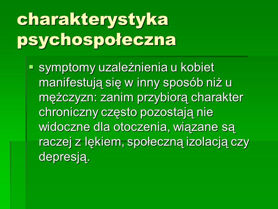 charakterystyka psychospołeczna symptomy uzależnienia u kobiet manifestują się w inny sposób niż u mężczyzn: zanim przybiorą charakter chroniczny częs