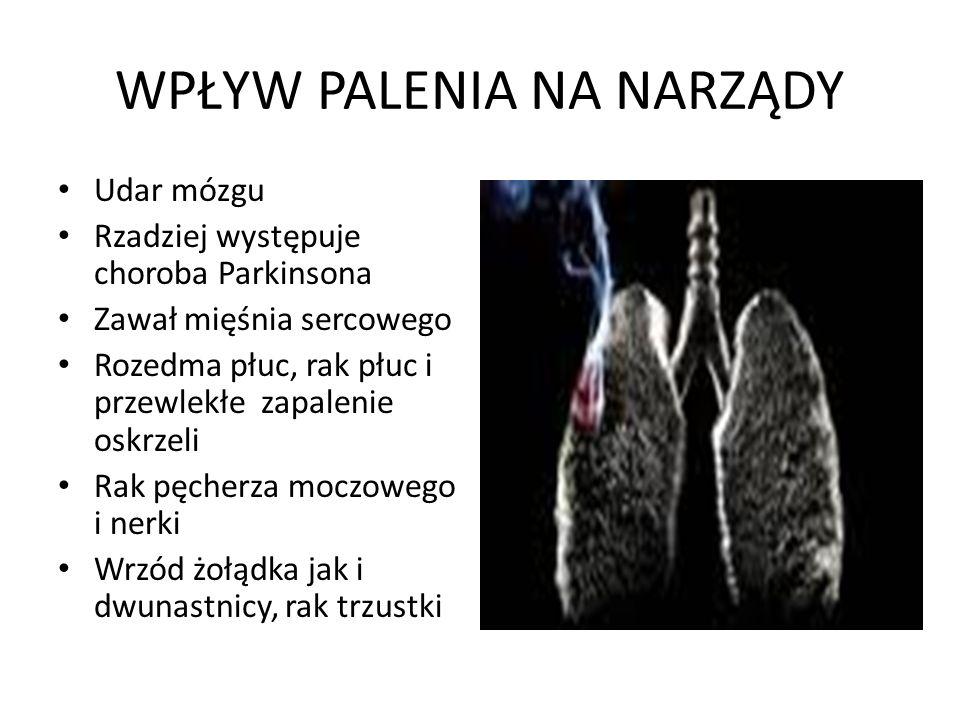 WPŁYW PALENIA NA NARZĄDY Udar mózgu Rzadziej występuje choroba Parkinsona Zawał mięśnia sercowego Rozedma płuc, rak płuc i przewlekłe zapalenie oskrze