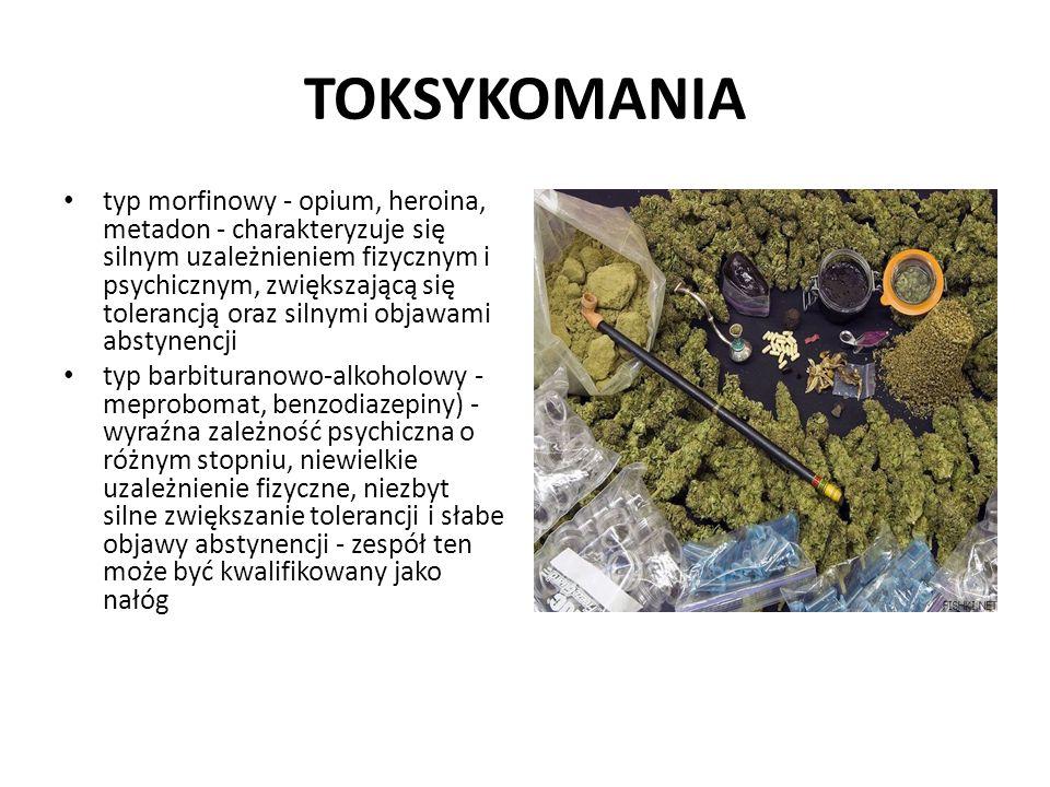 TOKSYKOMANIA typ morfinowy - opium, heroina, metadon - charakteryzuje się silnym uzależnieniem fizycznym i psychicznym, zwiększającą się tolerancją or