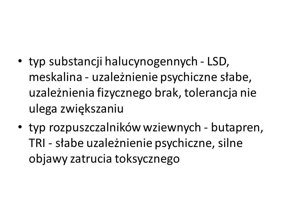 typ substancji halucynogennych - LSD, meskalina - uzależnienie psychiczne słabe, uzależnienia fizycznego brak, tolerancja nie ulega zwiększaniu typ ro