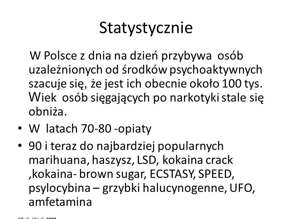 Statystycznie W Polsce z dnia na dzień przybywa osób uzależnionych od środków psychoaktywnych szacuje się, że jest ich obecnie około 100 tys. W iek os