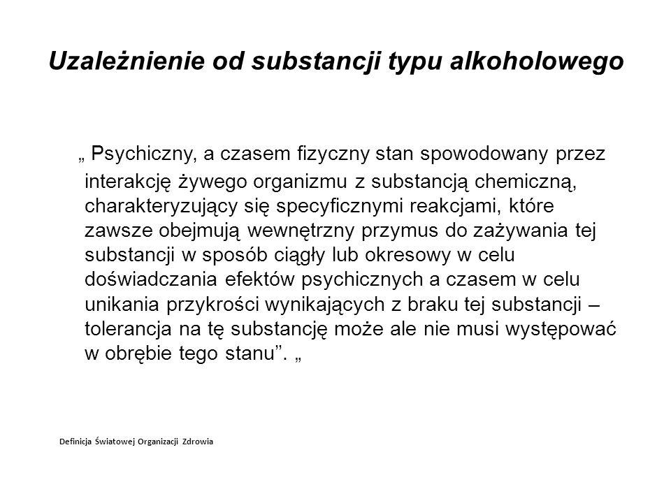 Uzależnienie od substancji typu alkoholowego Psychiczny, a czasem fizyczny stan spowodowany przez interakcję żywego organizmu z substancją chemiczną,