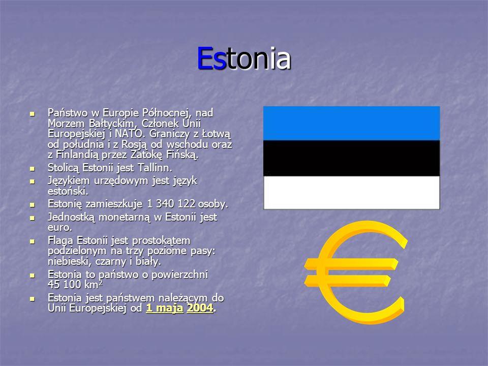 Estonia Państwo w Europie Północnej, nad Morzem Bałtyckim, Członek Unii Europejskiej i NATO. Graniczy z Łotwą od południa i z Rosją od wschodu oraz z