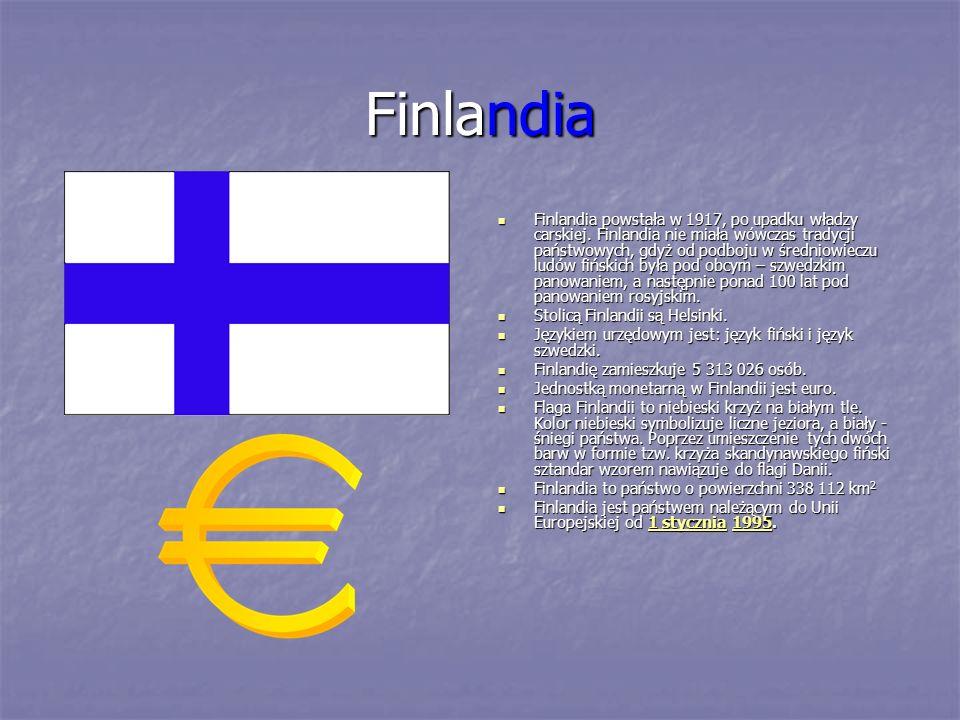 Finlandia Finlandia powstała w 1917, po upadku władzy carskiej. Finlandia nie miała wówczas tradycji państwowych, gdyż od podboju w średniowieczu ludó